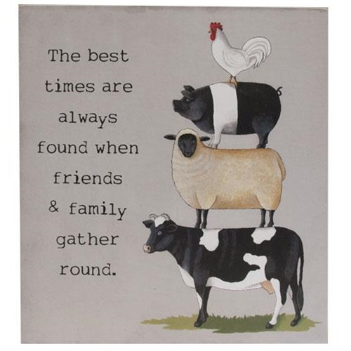 The Best Times Farm Animal Stack  Box Sign
