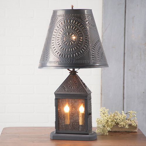 """Irvin's Harbor Lamp With Chisel Design In Kettle Black, Pictured With Optional 14"""" Fireside Chisel Design Shade In Kettle Black"""