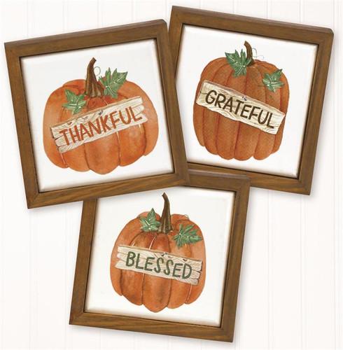 Pumpkin Ceramic Tile Signs