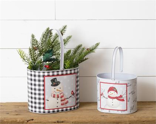 Snowman Buckets With Handles