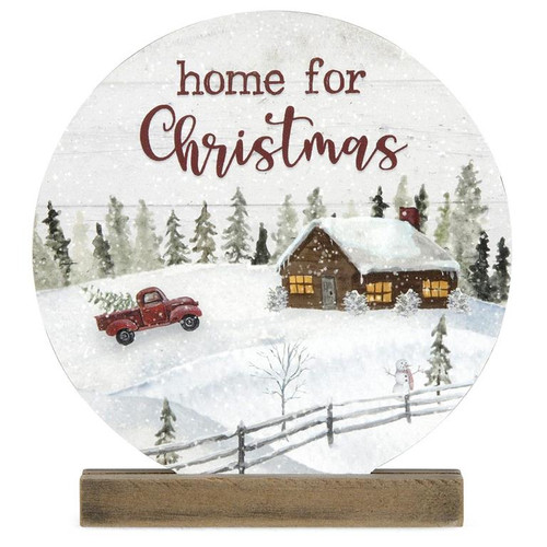 Home For Christmas Round Sign With Stand