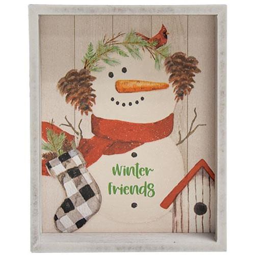 Winter Friends Snowman Inset Box Sign