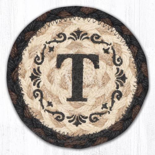 Round Hand Stenciled Coaster with T Monogram Design