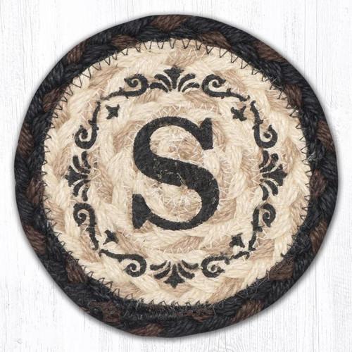 Round Hand Stenciled Coaster with S Monogram Design