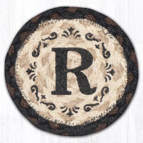 Round Hand Stenciled Coaster with R Monogram Design