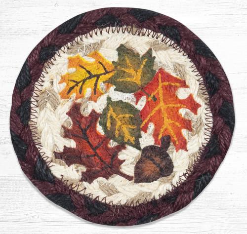 "Autumn Coaster Earth Rugs™ Braided Jute 5"" Round Coaster"