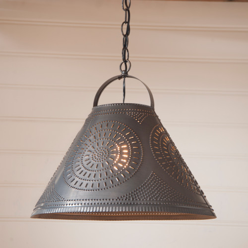 Irvin's Tinware Punched Tin Homestead Shade Light Pendant  With Chisel Design Finished In Kettle Black