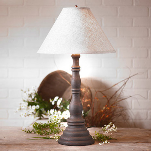 "Irvin's Davenport Lamp In Hartford Black, Shown With Optional 15"" Ivory Linen Shade"