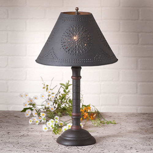 """Irvin's Gatlin Lamp In Hartford Black With Red Trim Shown With Optional 12"""" Chisel Design Shade In Textured Black"""