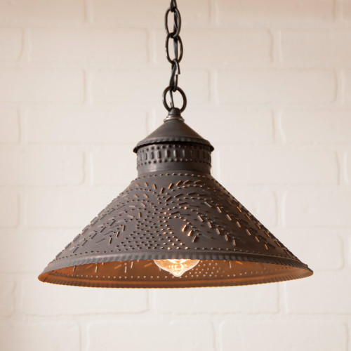 Irvin's Tinware Stockbridge Shade Light With Willow Design Finished In Kettle Black