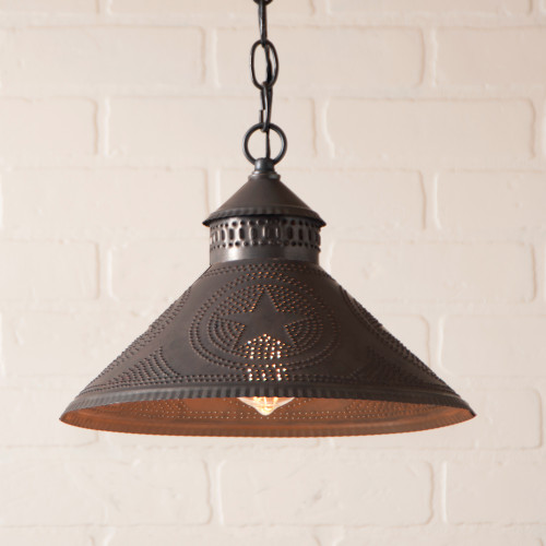 Irvin's Tinware Stockbridge Pendant Light, Punched Tin Star Design, Kettle Black Finish