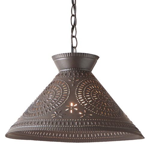 Irvin's Roosevelt Shade Light With Chisel Design Finished In Kettle Black