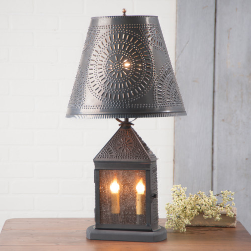 Irvin's Harbor Lamp With Chisel Design Finished In Kettle Black, Shown With Optional Chisel Design Fireside Shade Finished In Kettle Black