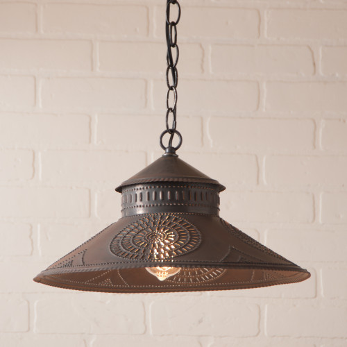 Irvin's Shopkeeper Shade Light With Chisel Design Finished In Kettle Black