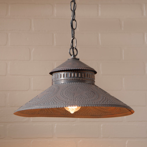 Irvin's Tinware Shopkeepers Pendant Light With Star Design Finished In Kettle Black