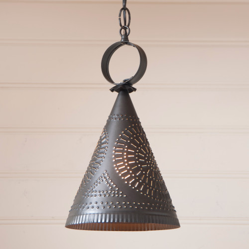 Irvin's Madison Witchs Hat Pendant Light Finished In Kettle Black