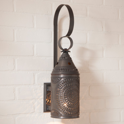 Irvin's Tinware Punched Tin Electrified Wall Lantern With Chisel Design Finished In Kettle Black