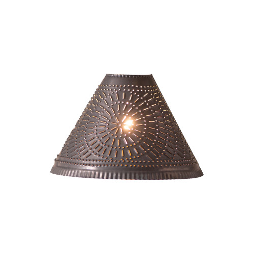 Irvin's Tinware Punched Tin Plantation Lamp Shade With Chisel Design In Kettle Black
