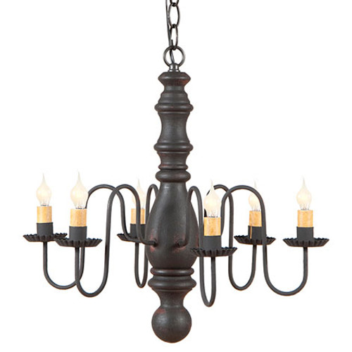 Irvin's Manassas Wooden Chandelier In Hartford Black Over Red