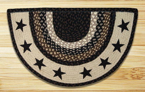 Braided Printed Rug Black Stars Slice Rug Earth Rugs