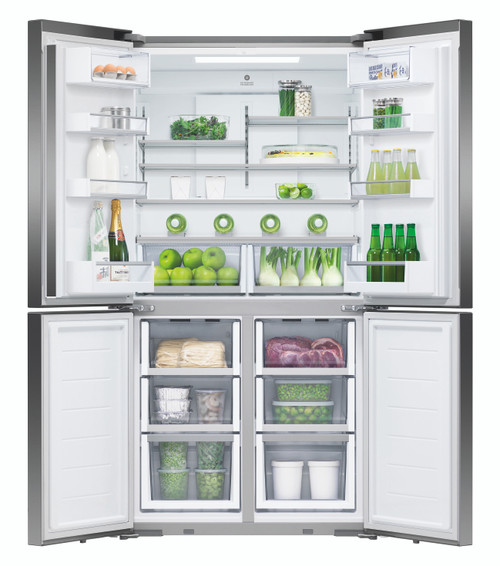 Fisher & Paykel 605L Black Stainless Steel Quad Door Ice & Water Refrigerator