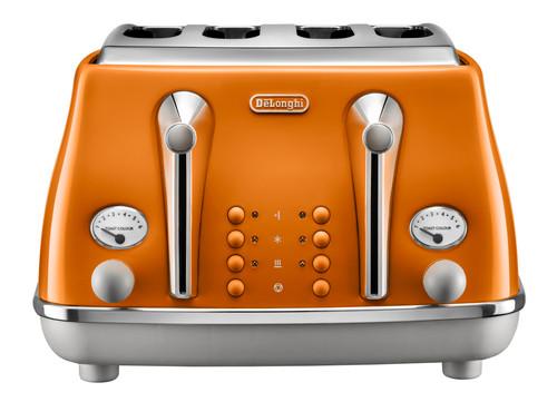Delonghi Icona Capital 4 Slice Toaster - Rome Orange