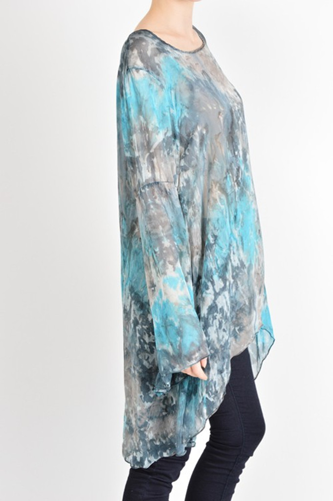 Elegant Silk Bell Sleeve WatercolorTunic