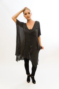 V-Neck Tie Knot Detailed Tunic