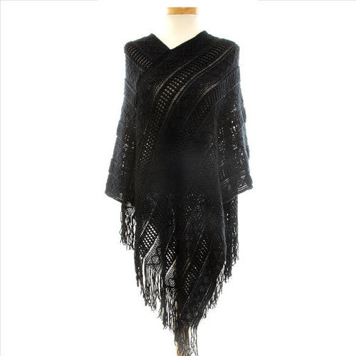 Soft V-Neck Knit Poncho With Super Soft Fringe!  A must have for your fall essential pieces.   Easy to wear one size fits all!