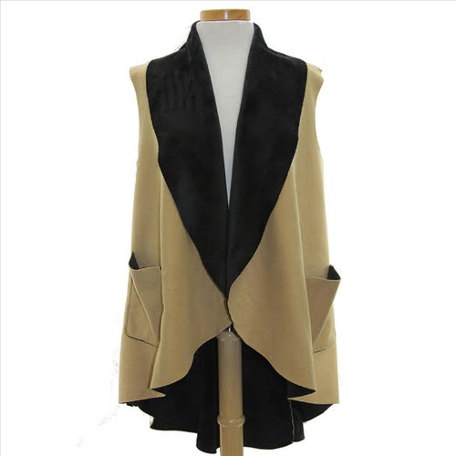 Ultra Suede Tuxedo Style Vest Camel/ Black