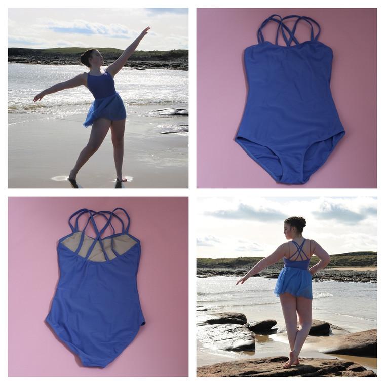 1st Position Blue Adult Ellie Double Strap Leotard Bluebell - collage