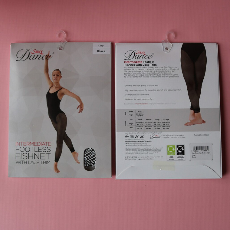 Silky Intermediate LACE FISHNET FOOTLESS TIGHTS Black