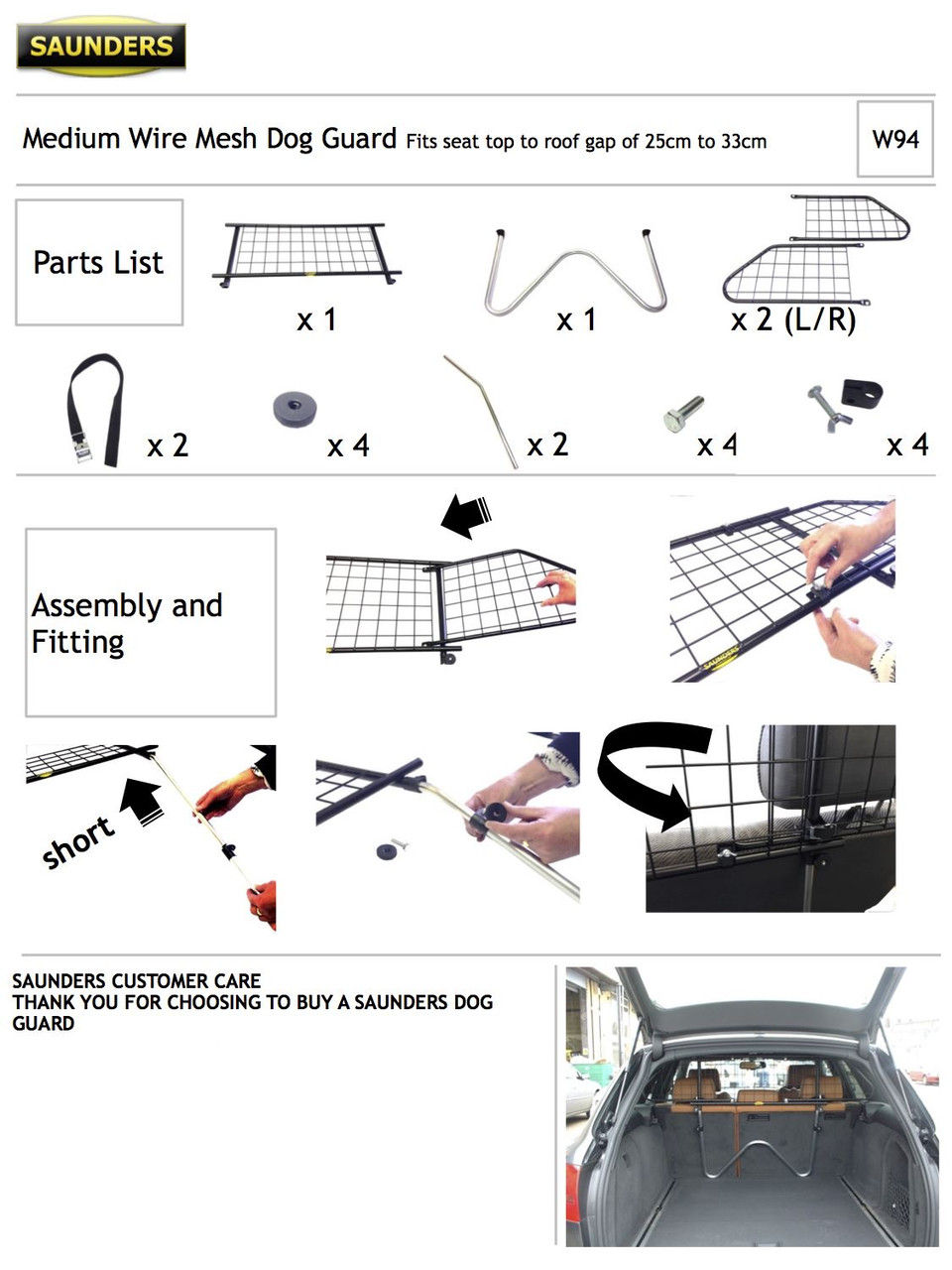 Headrest Wire Mesh Dog Guard To Fit Peugeot 307 SW Estate 5 Door