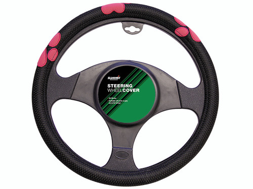 Pink Paw Print Steering Wheel Cover