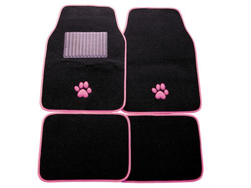 Pink Paw Print Universal Car Mats