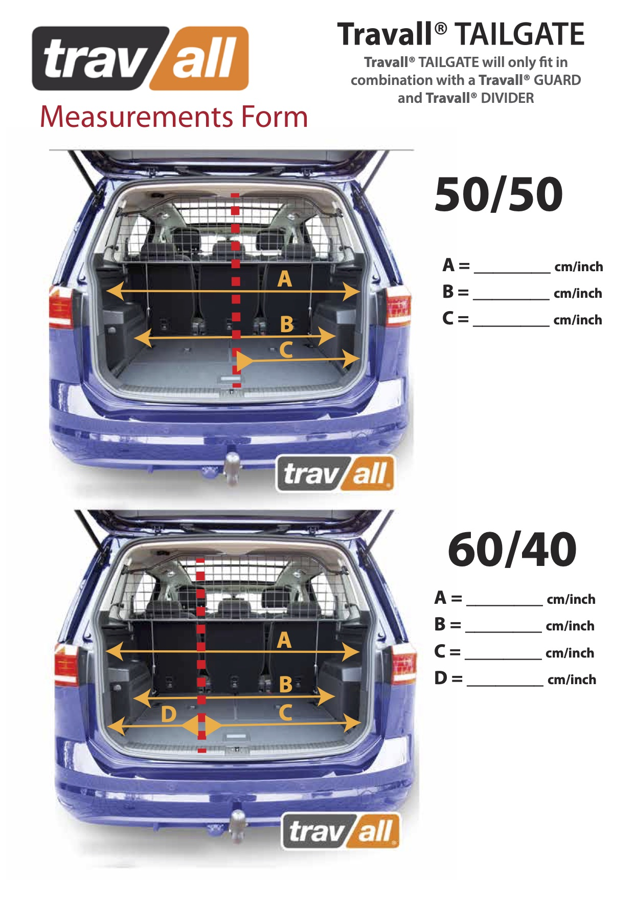 Travall Measurement Guide for Tailgate Guard