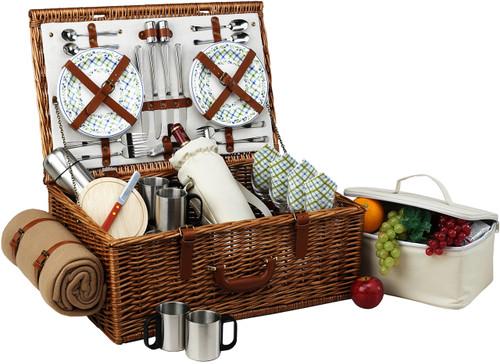 Picnic at Ascot - Dorset Basket for 4 w/ Coffee Set & Blanket