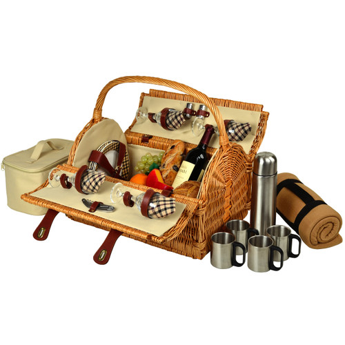 Picnic at Ascot - Yorkshire Picnic Basket for 4 w/ Blanket & Coffee Set