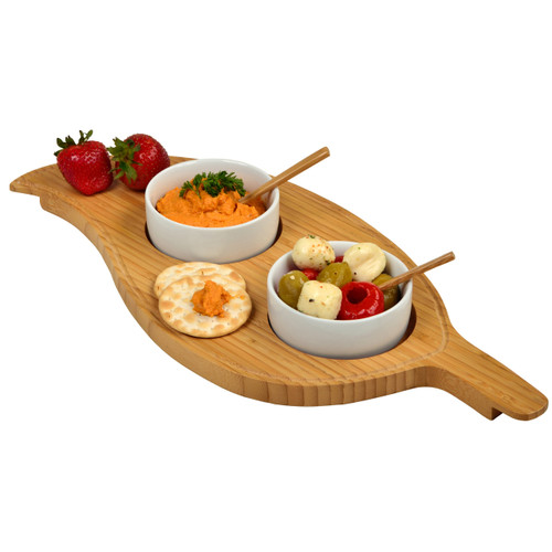 Picnic at Ascot - Two Bowl Leaf Serving Tray