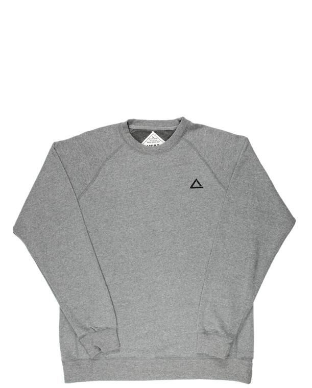 Grey women's raglan fitness sweatshirt with black logo.