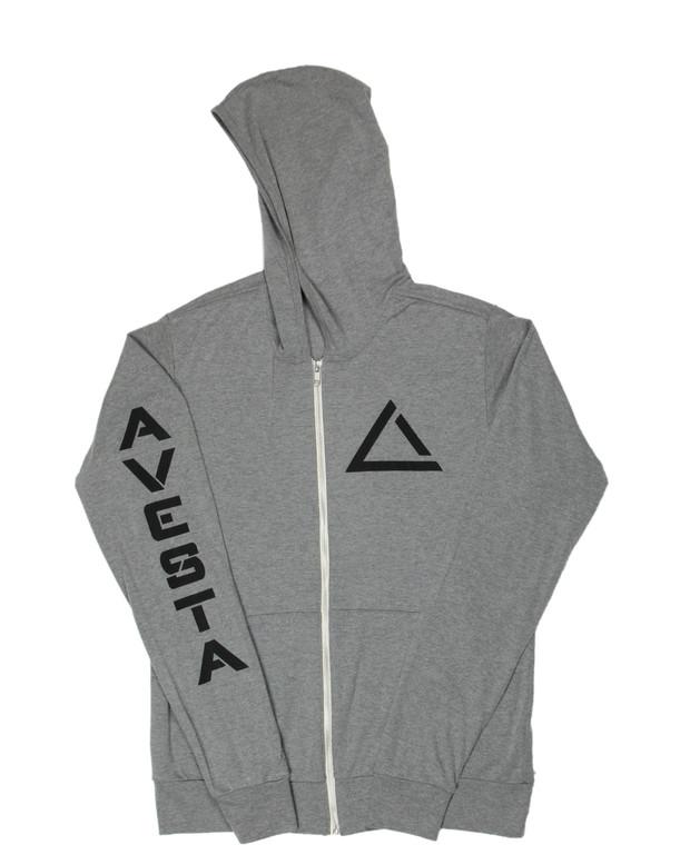Grey women's light weight fitness zip up sweatshirt with black activewear logo.