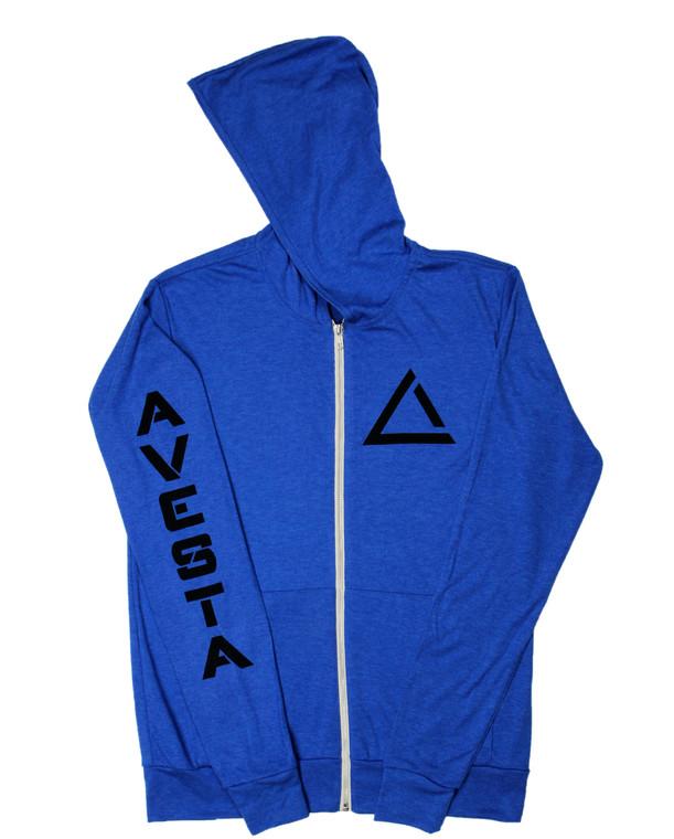 Royal blue women's light weight fitness zip up sweatshirt with black activewear logo.