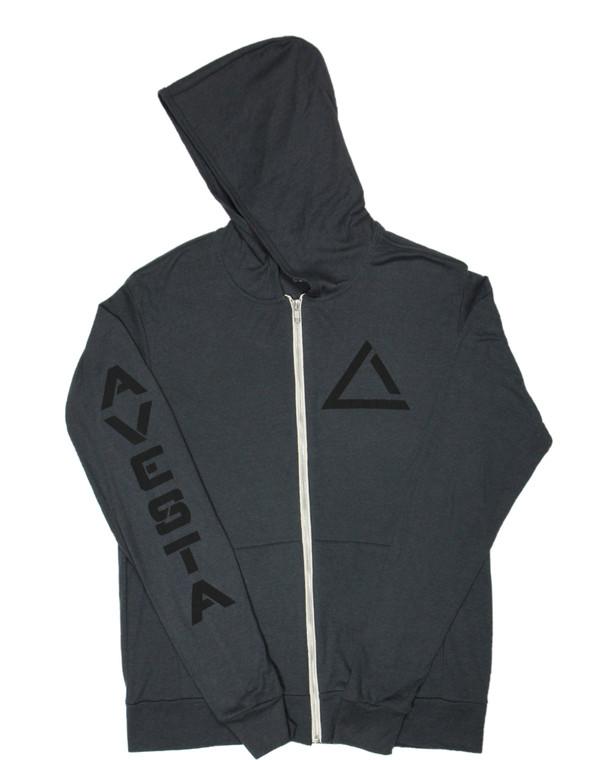 Dark Grey women's light weight fitness zip up sweatshirt with black activewear logo.