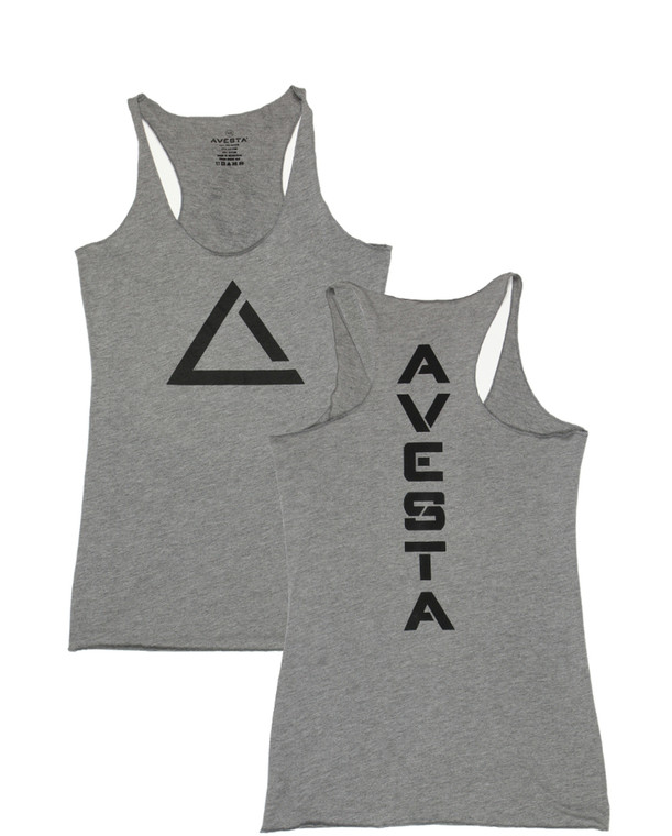 Grey women's fitness racer back tank top with black logo for fitness.