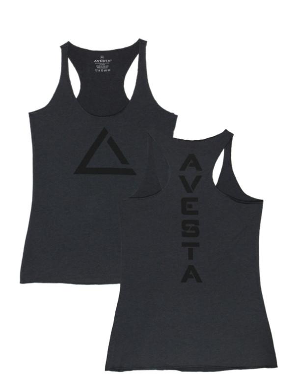 Dark grey women's fitness racer back tank top with black logo for fitness.