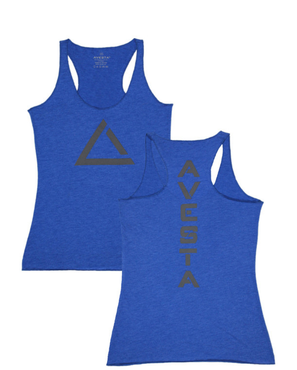 Royal blue women's fitness racer back tank top with grey logo for fitness.