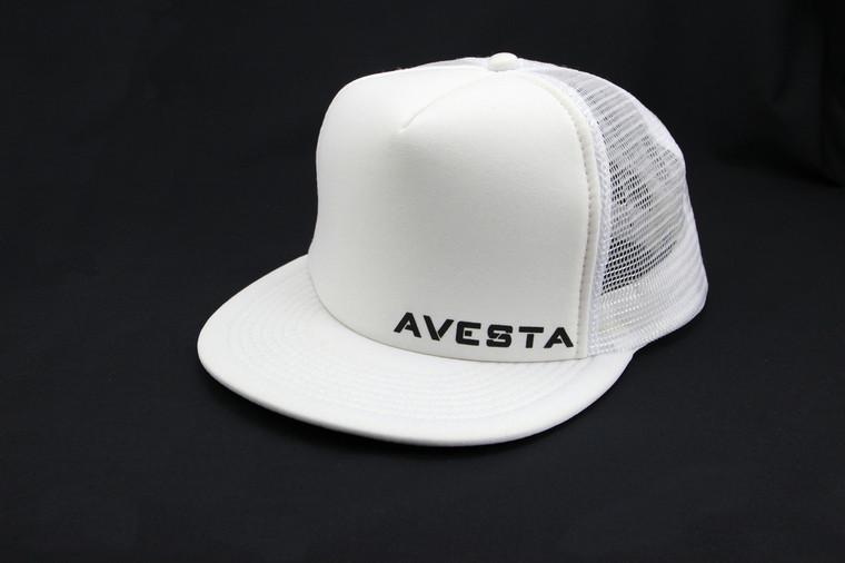 White fitness lifestyle snap back trucker hat.