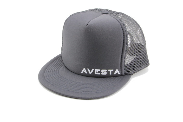 Dark grey fitness lifestyle snap back trucker hat.