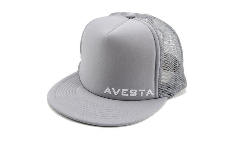 Light grey fitness lifestyle snap back trucker hat.