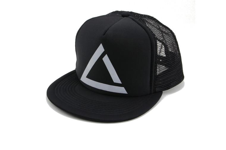 Black fitness lifestyle snap back trucker hat.
